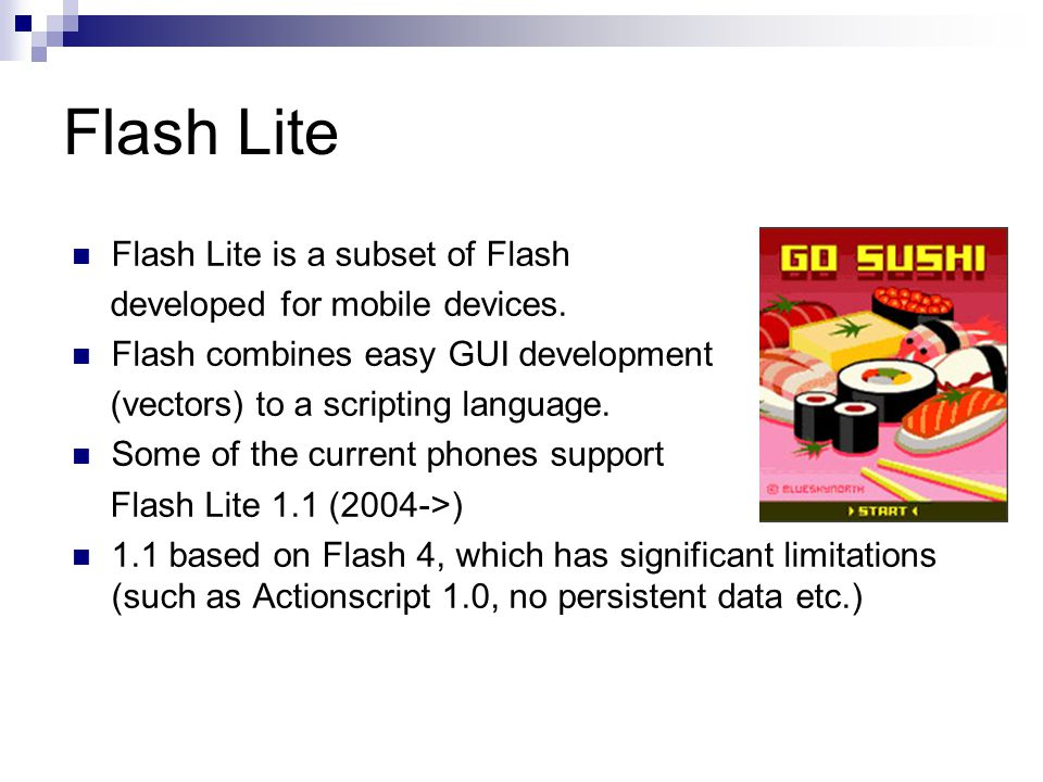 Flash Lite Flash Lite is a subset of Flash developed for mobile devices.