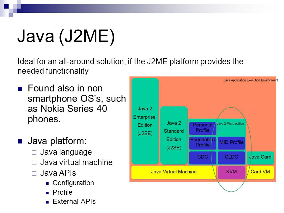 Java (J2ME) Found also in non smartphone OSs, such as Nokia Series 40 phones.