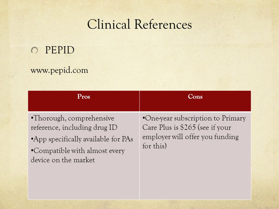 Clinical References PEPID www.pepid.com ProsCons Thorough, comprehensive reference, including drug ID App specifically available for PAs Compatible with almost every device on the market One-year subscription to Primary Care Plus is $265 (see if your employer will offer you funding for this)