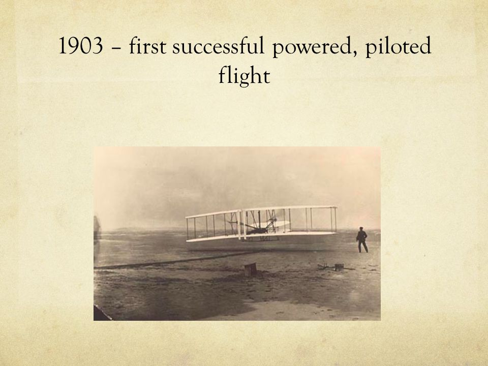 1903 – first successful powered, piloted flight