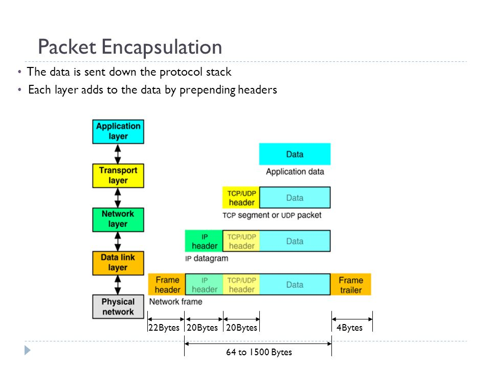 Packet Encapsulation The data is sent down the protocol stack Each layer adds to the data by prepending headers 22Bytes20Bytes 4Bytes 64 to 1500 Bytes
