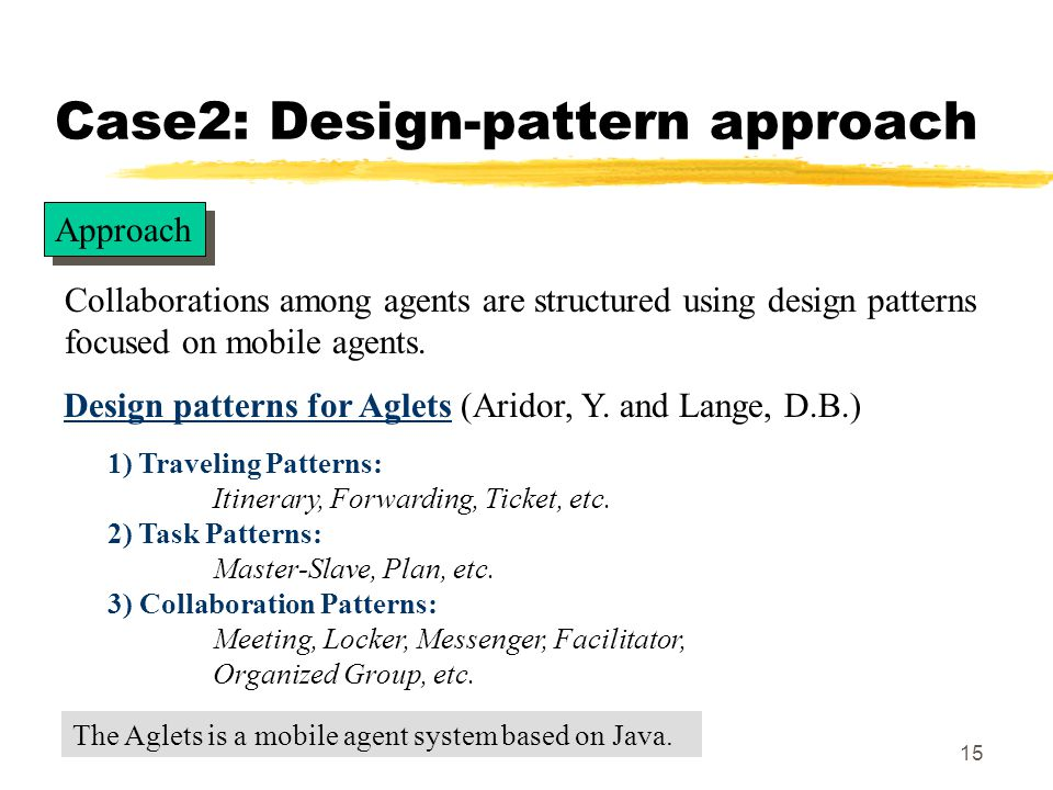 15 Case2: Design-pattern approach Design patterns for Aglets (Aridor, Y.