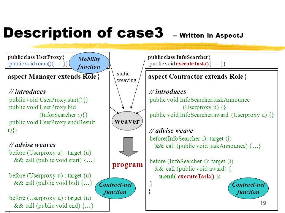 19 Description of case3 -- Written in AspectJ public class UserProxy{ public void roam(){ … }} aspect Manager extends Role{ // introduces public void UserProxy.start(){} public void UserProxy.bid (InforSearcher i){} public void UserProxy.end(Result r){ } // advise weaves before (Userproxy u) : target (u) && call (public void start) {…} before (Userproxy u) : target (u) && call (public void bid) {…} before (Userproxy u) : target (u) && call (public void end) {…} } public class InfoSearcher{ public void executeTask(){ … }} aspect Contractor extends Role{ // introduces public void InfoSearcher.taskAnnounce (Userproxy u) {} public void InfoSearcher.award (Userproxy u) {} // advise weave before(InfoSearcher i): target (i) && call (public void taskAnnounce) {…} before (InfoSearcher i): target (i) && call (public void award) { u.end( executeTask() ); } weaver program static weaving Mobility function Contract-net function Contract-net function
