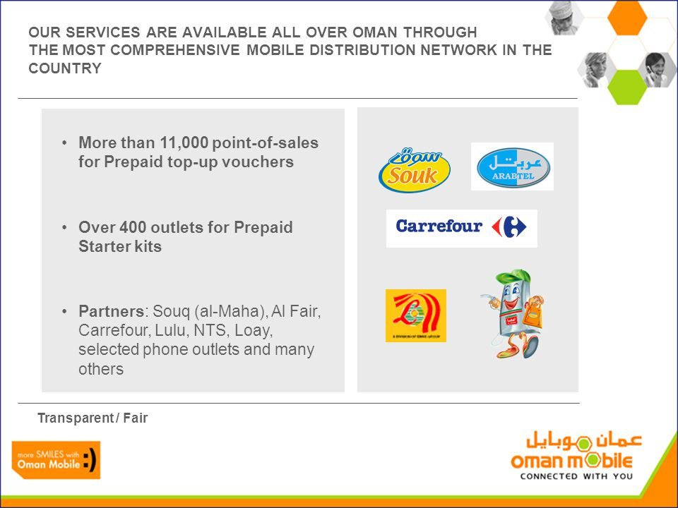 OUR SERVICES ARE AVAILABLE ALL OVER OMAN THROUGH THE MOST COMPREHENSIVE MOBILE DISTRIBUTION NETWORK IN THE COUNTRY More than 11,000 point-of-sales for