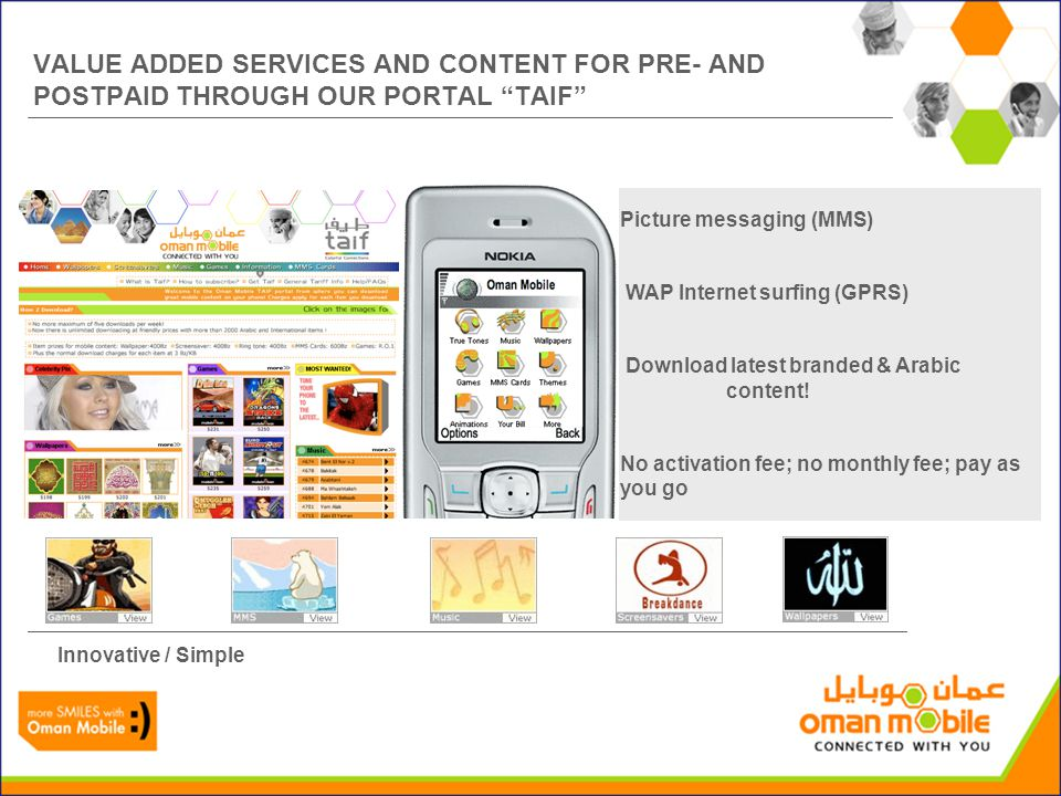 VALUE ADDED SERVICES AND CONTENT FOR PRE- AND POSTPAID THROUGH OUR PORTAL TAIF Picture messaging (MMS) WAP Internet surfing (GPRS) Download latest branded & Arabic content.