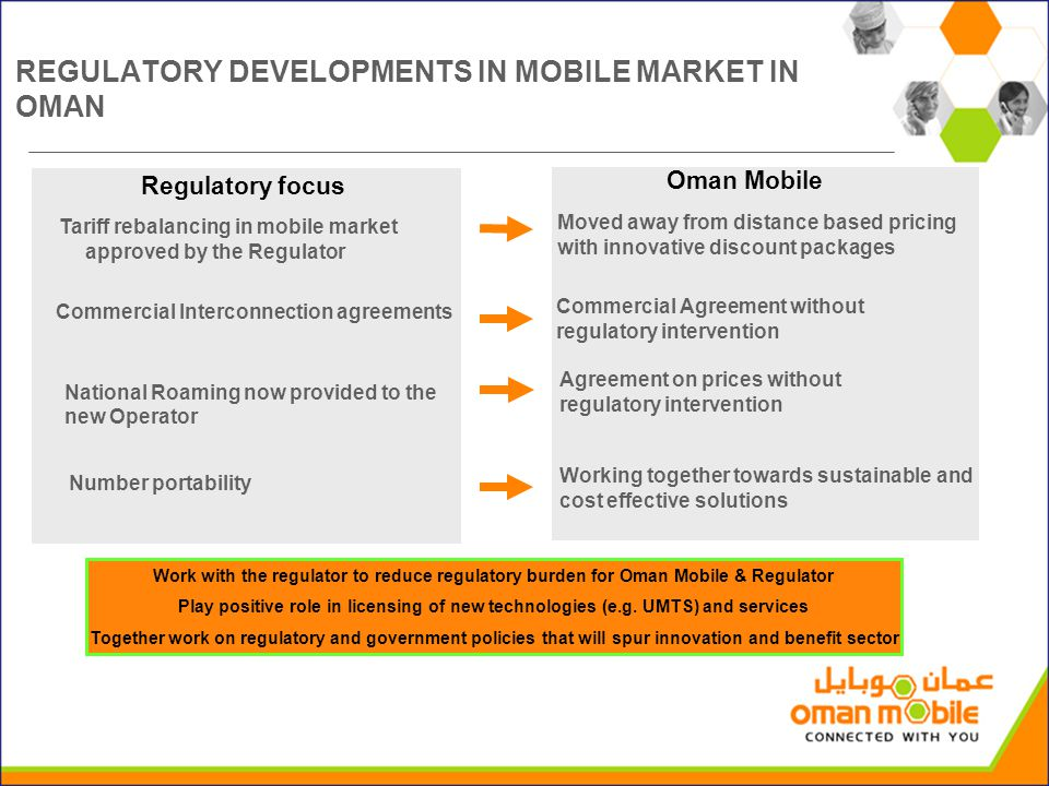 REGULATORY DEVELOPMENTS IN MOBILE MARKET IN OMAN Regulatory focus Oman Mobile Work with the regulator to reduce regulatory burden for Oman Mobile & Regulator Play positive role in licensing of new technologies (e.g.