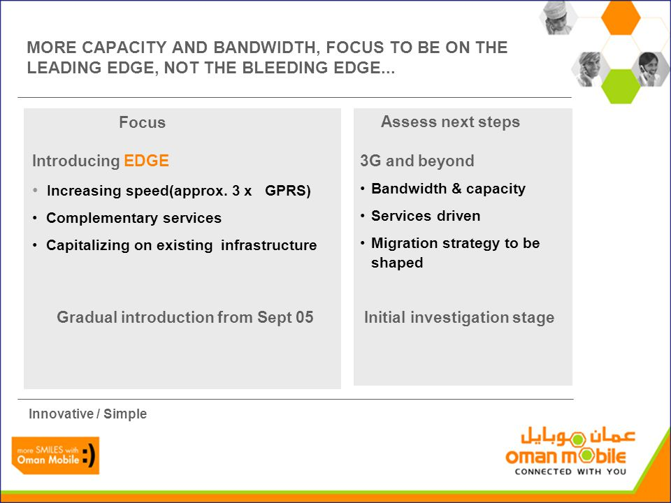Focus Assess next steps MORE CAPACITY AND BANDWIDTH, FOCUS TO BE ON THE LEADING EDGE, NOT THE BLEEDING EDGE...