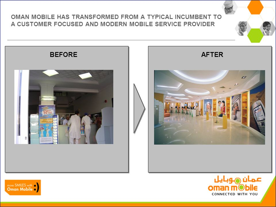 OMAN MOBILE HAS TRANSFORMED FROM A TYPICAL INCUMBENT TO A CUSTOMER FOCUSED AND MODERN MOBILE SERVICE PROVIDER BEFOREAFTER