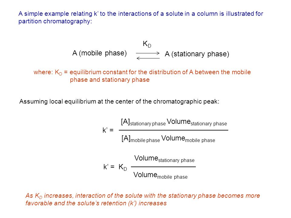 A simple example relating k to the interactions of a solute in a column is illustrated for partition chromatography: A (mobile phase) A (stationary phase) KDKD where: K D = equilibrium constant for the distribution of A between the mobile phase and stationary phase Assuming local equilibrium at the center of the chromatographic peak: k = [A] stationary phase Volume stationary phase [A] mobile phase Volume mobile phase k = K D Volume stationary phase Volume mobile phase As K D increases, interaction of the solute with the stationary phase becomes more favorable and the solutes retention (k) increases