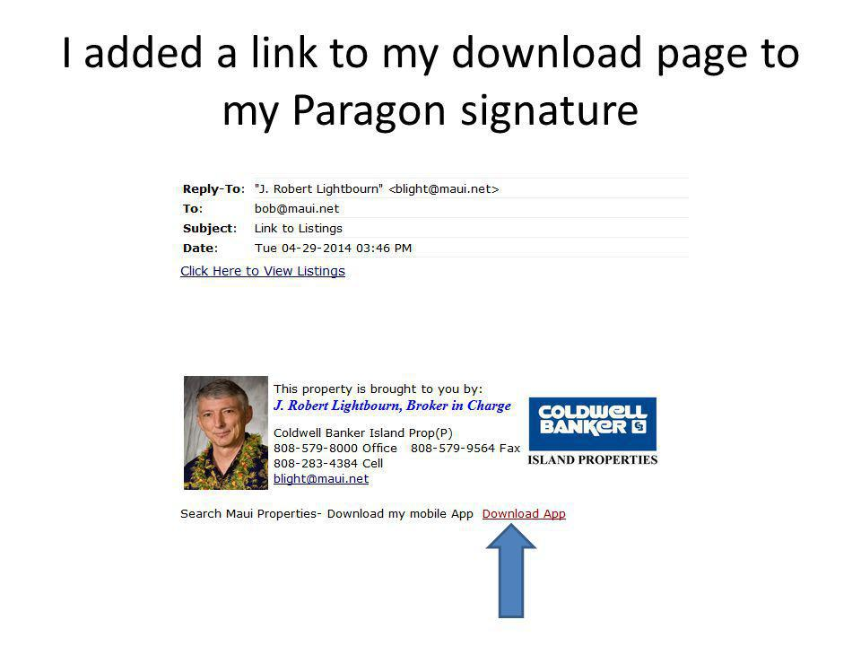 I added a link to my download page to my Paragon signature