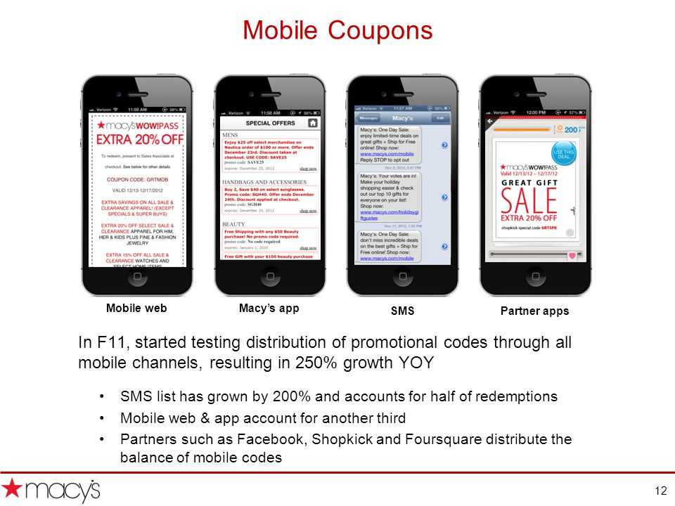 12 Mobile Coupons In F11, started testing distribution of promotional codes through all mobile channels, resulting in 250% growth YOY SMS list has grown by 200% and accounts for half of redemptions Mobile web & app account for another third Partners such as Facebook, Shopkick and Foursquare distribute the balance of mobile codes Mobile webMacys app SMSPartner apps