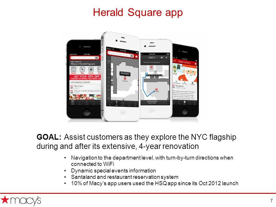 7 Herald Square app GOAL: Assist customers as they explore the NYC flagship during and after its extensive, 4-year renovation Navigation to the department level, with turn-by-turn directions when connected to WiFi Dynamic special events information Santaland and restaurant reservation system 10% of Macys app users used the HSQ app since its Oct 2012 launch
