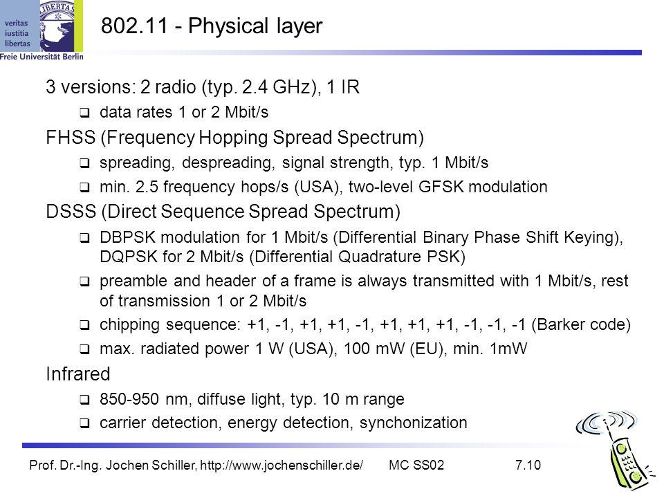 Prof. Dr.-Ing. Jochen Schiller, http://www.jochenschiller.de/MC SS027.10 802.11 - Physical layer 3 versions: 2 radio (typ. 2.4 GHz), 1 IR data rates 1