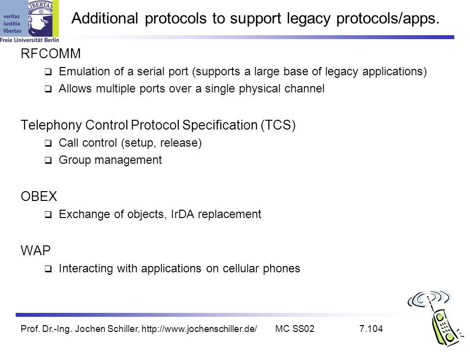 Prof. Dr.-Ing. Jochen Schiller, http://www.jochenschiller.de/MC SS027.104 Additional protocols to support legacy protocols/apps. RFCOMM Emulation of a