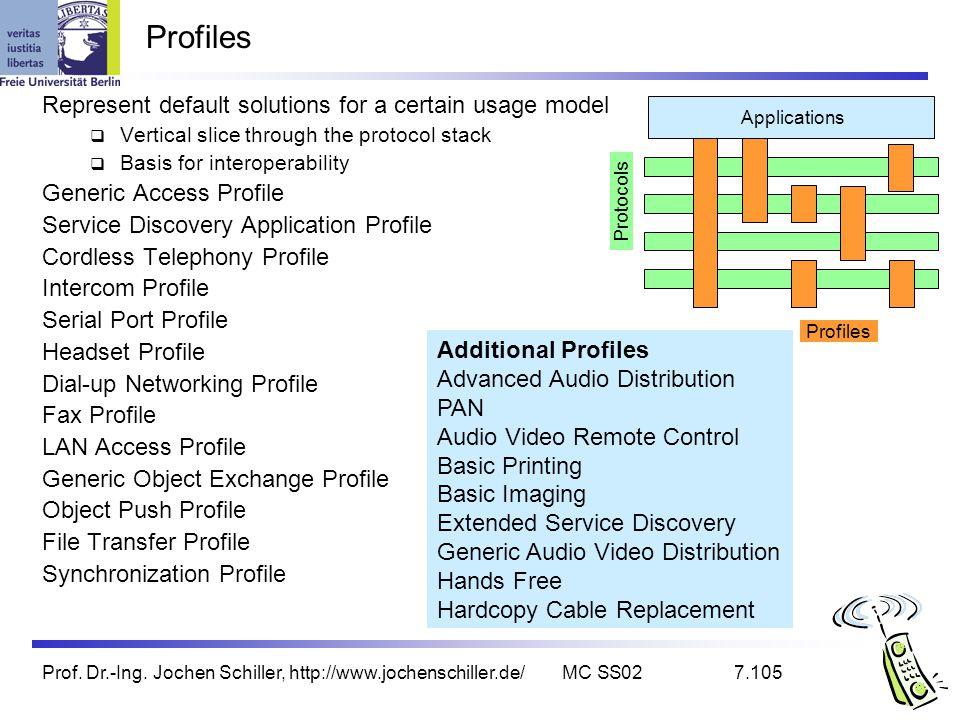 Prof. Dr.-Ing. Jochen Schiller, http://www.jochenschiller.de/MC SS027.105 Profiles Represent default solutions for a certain usage model Vertical slic