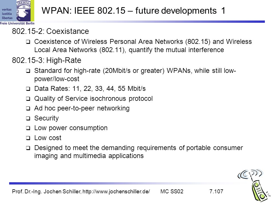 Prof. Dr.-Ing. Jochen Schiller, http://www.jochenschiller.de/MC SS027.107 WPAN: IEEE 802.15 – future developments 1 802.15-2: Coexistance Coexistence