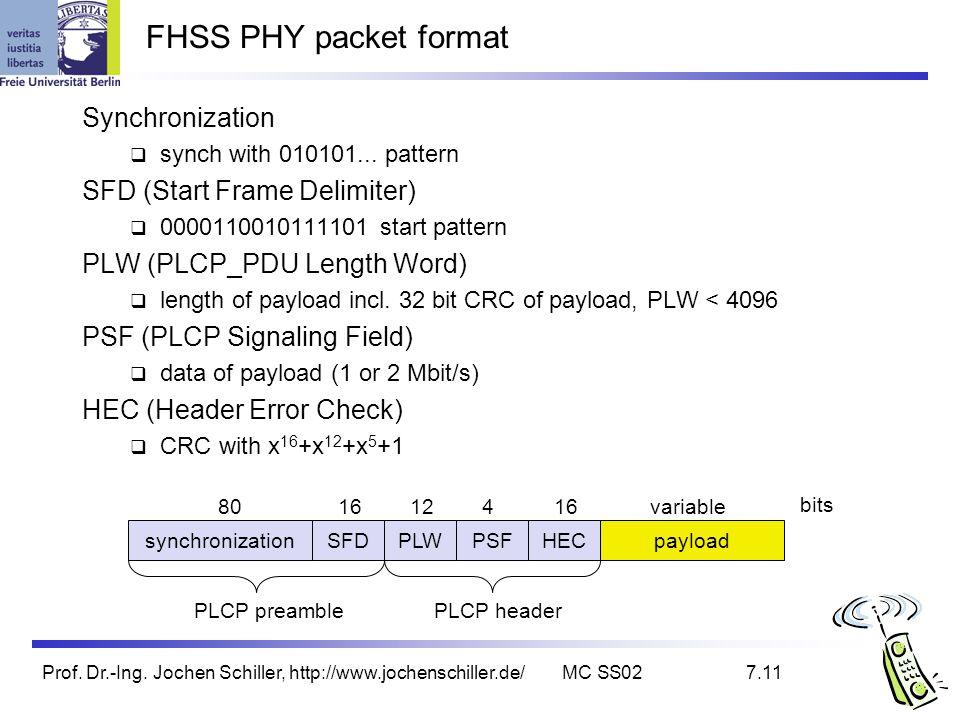 Prof. Dr.-Ing. Jochen Schiller, http://www.jochenschiller.de/MC SS027.11 FHSS PHY packet format synchronizationSFDPLWPSFHECpayload PLCP preamblePLCP h