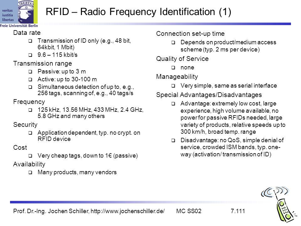 Prof. Dr.-Ing. Jochen Schiller, http://www.jochenschiller.de/MC SS027.111 RFID – Radio Frequency Identification (1) Data rate Transmission of ID only