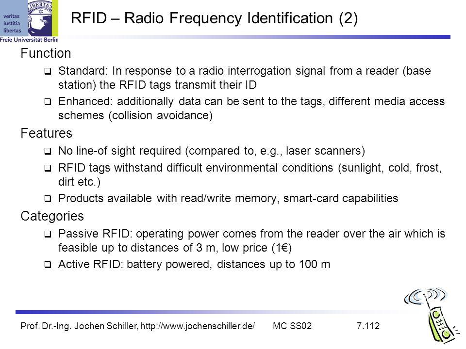 Prof. Dr.-Ing. Jochen Schiller, http://www.jochenschiller.de/MC SS027.112 RFID – Radio Frequency Identification (2) Function Standard: In response to