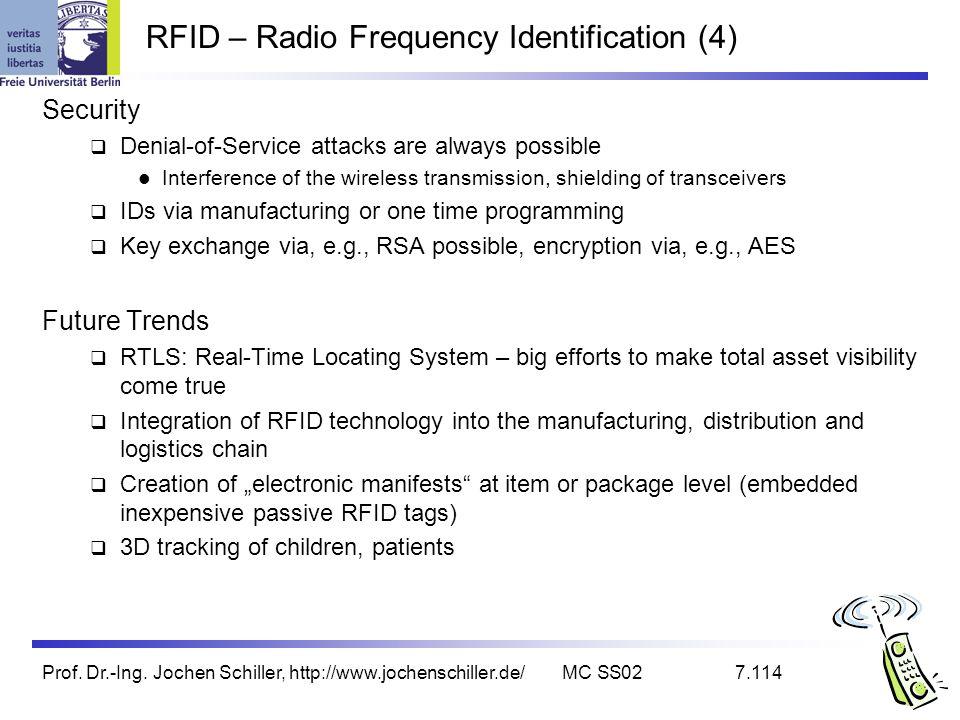 Prof. Dr.-Ing. Jochen Schiller, http://www.jochenschiller.de/MC SS027.114 RFID – Radio Frequency Identification (4) Security Denial-of-Service attacks