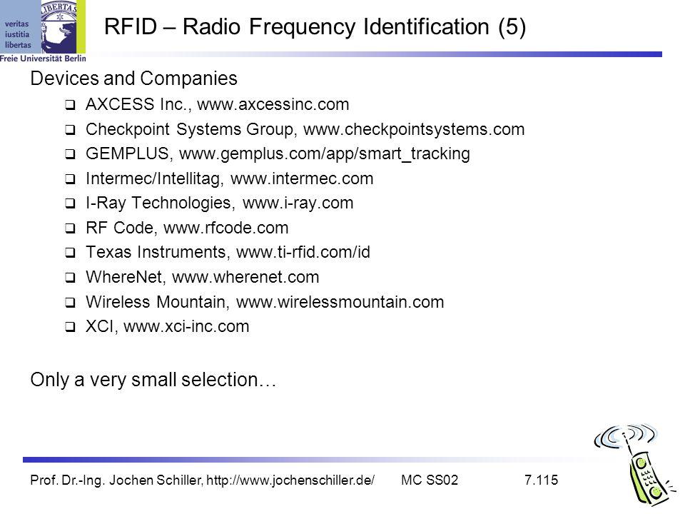 Prof. Dr.-Ing. Jochen Schiller, http://www.jochenschiller.de/MC SS027.115 RFID – Radio Frequency Identification (5) Devices and Companies AXCESS Inc.,