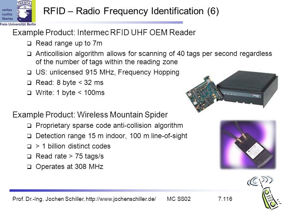 Prof. Dr.-Ing. Jochen Schiller, http://www.jochenschiller.de/MC SS027.116 RFID – Radio Frequency Identification (6) Example Product: Intermec RFID UHF