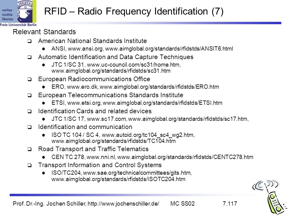 Prof. Dr.-Ing. Jochen Schiller, http://www.jochenschiller.de/MC SS027.117 RFID – Radio Frequency Identification (7) Relevant Standards American Nation