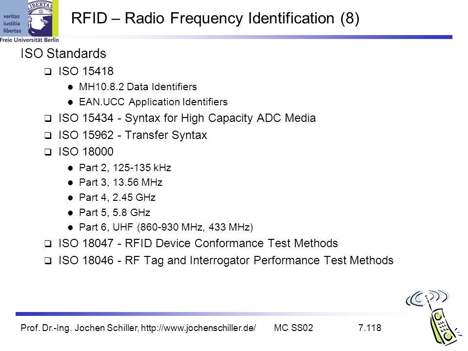 Prof. Dr.-Ing. Jochen Schiller, http://www.jochenschiller.de/MC SS027.118 RFID – Radio Frequency Identification (8) ISO Standards ISO 15418 MH10.8.2 D