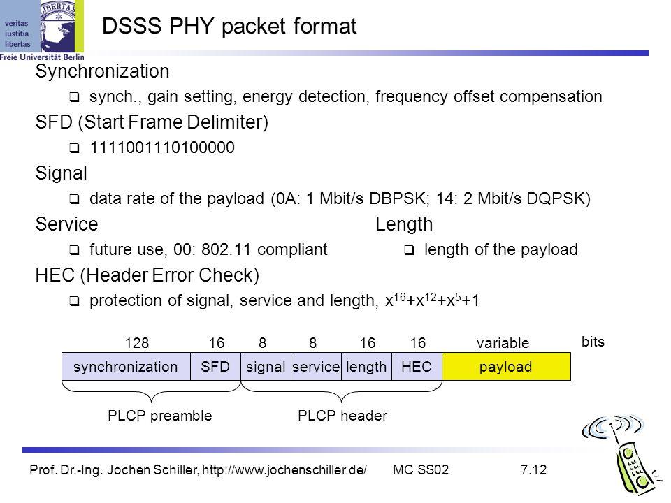 Prof. Dr.-Ing. Jochen Schiller, http://www.jochenschiller.de/MC SS027.12 DSSS PHY packet format synchronizationSFDsignalserviceHECpayload PLCP preambl