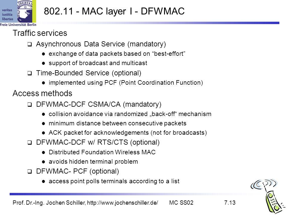 Prof. Dr.-Ing. Jochen Schiller, http://www.jochenschiller.de/MC SS027.13 802.11 - MAC layer I - DFWMAC Traffic services Asynchronous Data Service (man