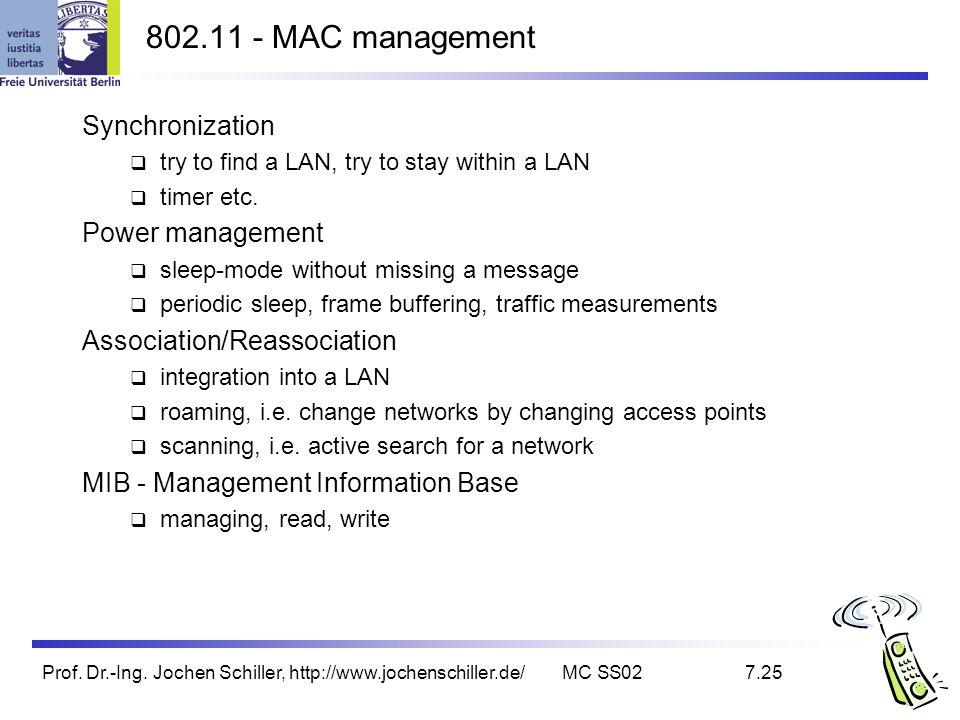 Prof. Dr.-Ing. Jochen Schiller, http://www.jochenschiller.de/MC SS027.25 802.11 - MAC management Synchronization try to find a LAN, try to stay within
