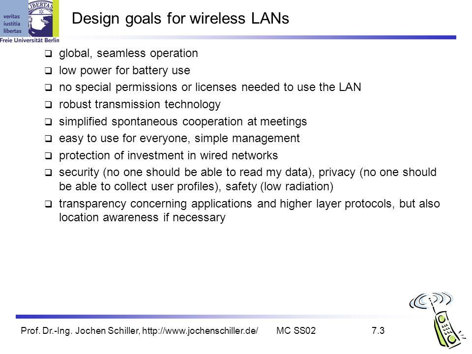 Prof. Dr.-Ing. Jochen Schiller, http://www.jochenschiller.de/MC SS027.3 Design goals for wireless LANs global, seamless operation low power for batter