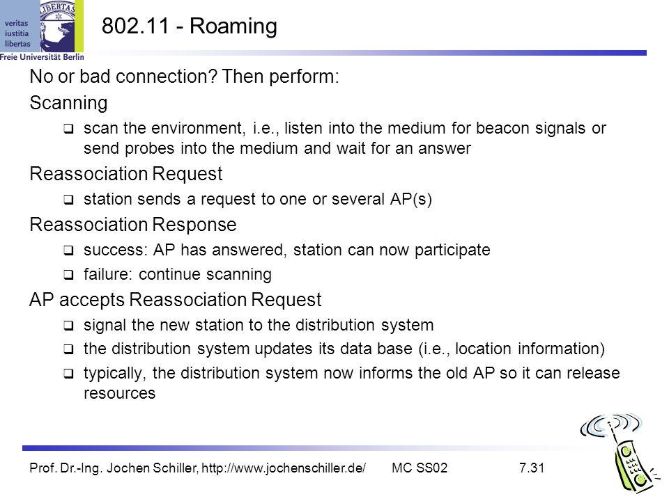 Prof. Dr.-Ing. Jochen Schiller, http://www.jochenschiller.de/MC SS027.31 802.11 - Roaming No or bad connection? Then perform: Scanning scan the enviro