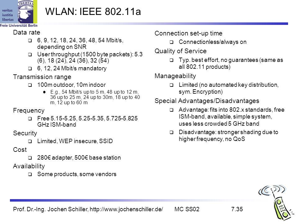 Prof. Dr.-Ing. Jochen Schiller, http://www.jochenschiller.de/MC SS027.35 WLAN: IEEE 802.11a Data rate 6, 9, 12, 18, 24, 36, 48, 54 Mbit/s, depending o
