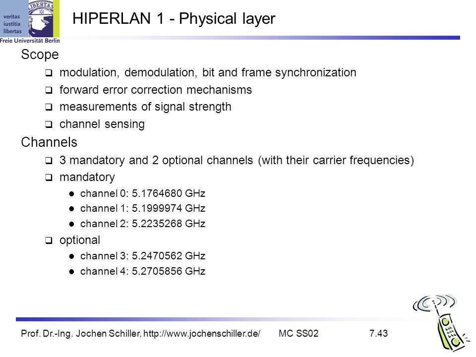 Prof. Dr.-Ing. Jochen Schiller, http://www.jochenschiller.de/MC SS027.43 HIPERLAN 1 - Physical layer Scope modulation, demodulation, bit and frame syn