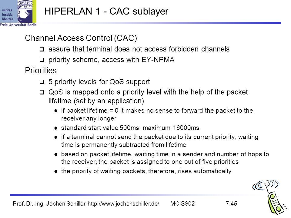 Prof. Dr.-Ing. Jochen Schiller, http://www.jochenschiller.de/MC SS027.45 HIPERLAN 1 - CAC sublayer Channel Access Control (CAC) assure that terminal d