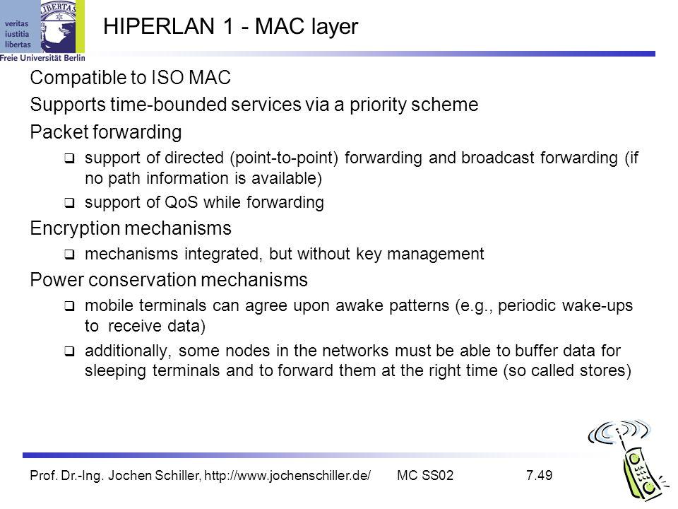 Prof. Dr.-Ing. Jochen Schiller, http://www.jochenschiller.de/MC SS027.49 HIPERLAN 1 - MAC layer Compatible to ISO MAC Supports time-bounded services v