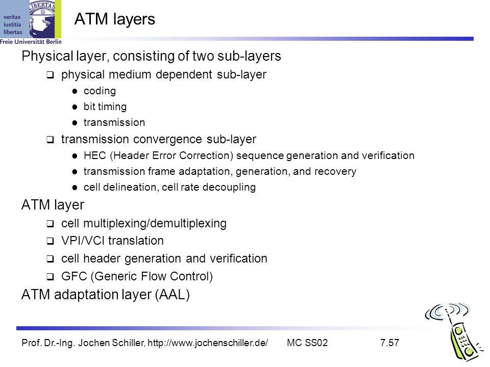 Prof. Dr.-Ing. Jochen Schiller, http://www.jochenschiller.de/MC SS027.57 ATM layers Physical layer, consisting of two sub-layers physical medium depen