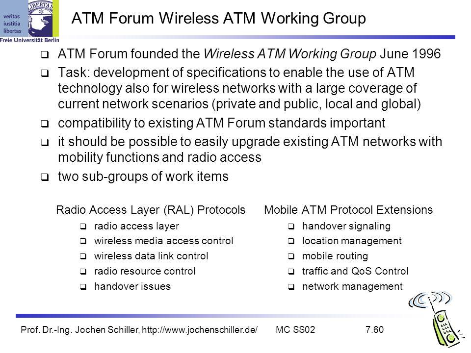 Prof. Dr.-Ing. Jochen Schiller, http://www.jochenschiller.de/MC SS027.60 ATM Forum Wireless ATM Working Group ATM Forum founded the Wireless ATM Worki