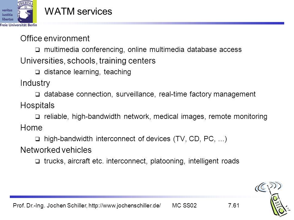 Prof. Dr.-Ing. Jochen Schiller, http://www.jochenschiller.de/MC SS027.61 WATM services Office environment multimedia conferencing, online multimedia d