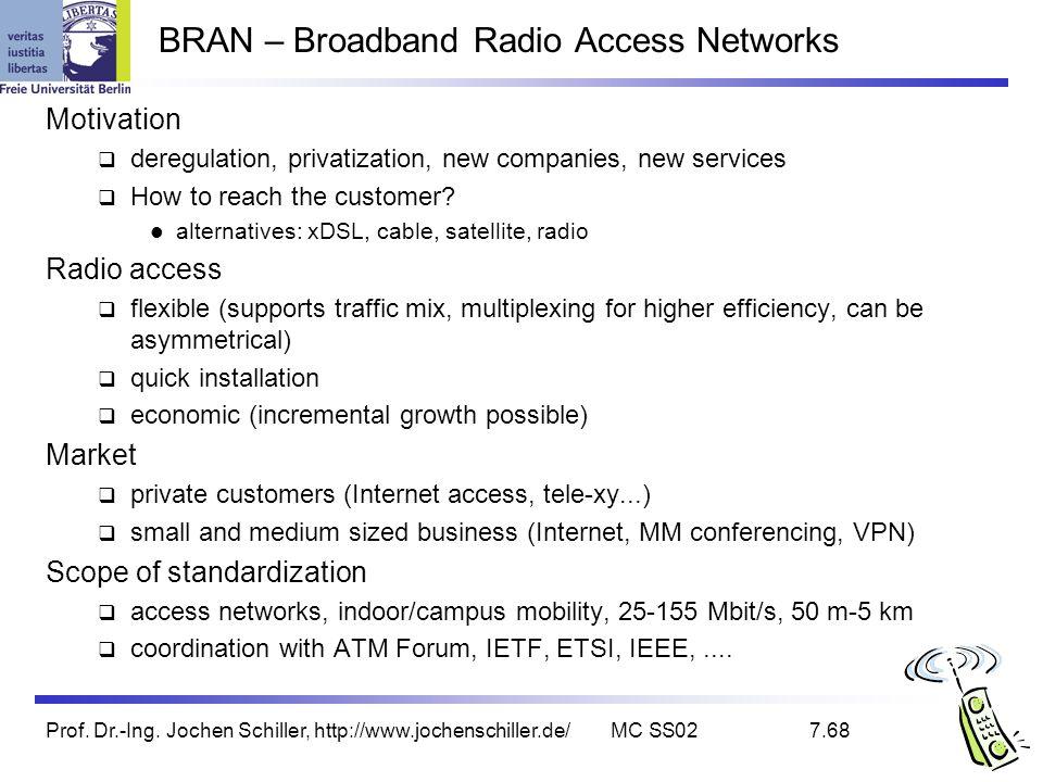 Prof. Dr.-Ing. Jochen Schiller, http://www.jochenschiller.de/MC SS027.68 BRAN – Broadband Radio Access Networks Motivation deregulation, privatization