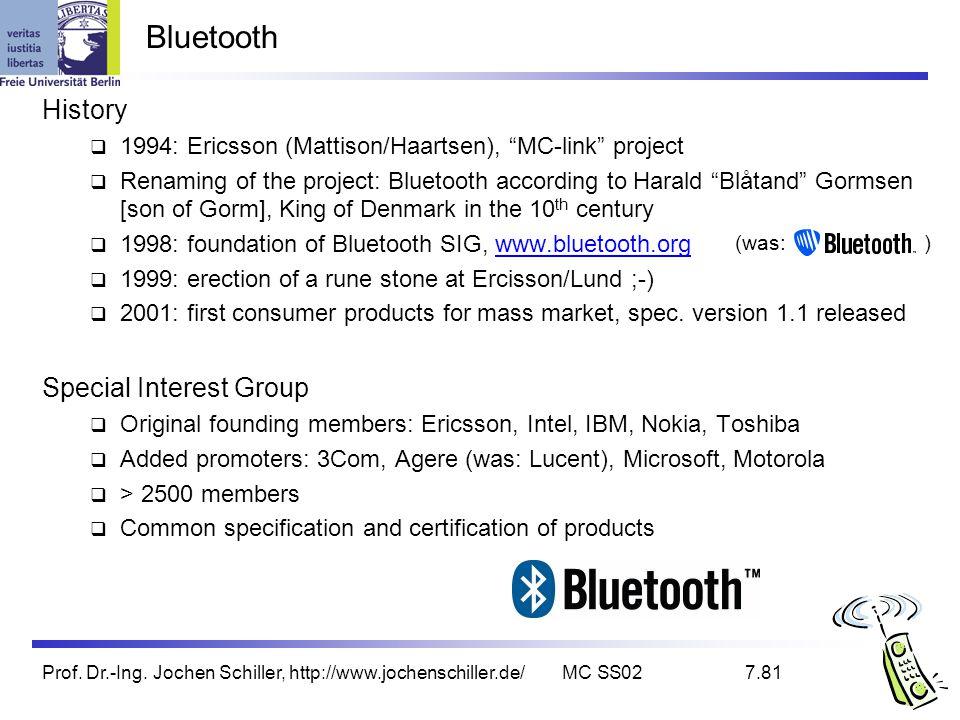 Prof. Dr.-Ing. Jochen Schiller, http://www.jochenschiller.de/MC SS027.81 Bluetooth History 1994: Ericsson (Mattison/Haartsen), MC-link project Renamin