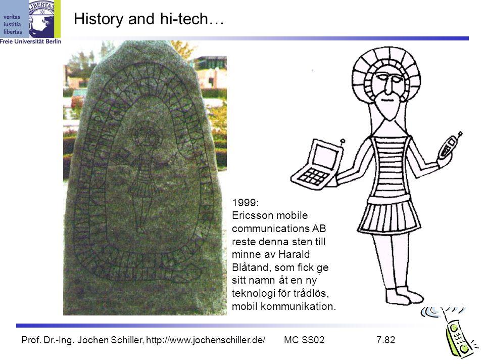 Prof. Dr.-Ing. Jochen Schiller, http://www.jochenschiller.de/MC SS027.82 History and hi-tech… 1999: Ericsson mobile communications AB reste denna sten