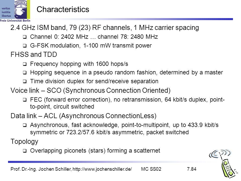 Prof. Dr.-Ing. Jochen Schiller, http://www.jochenschiller.de/MC SS027.84 Characteristics 2.4 GHz ISM band, 79 (23) RF channels, 1 MHz carrier spacing