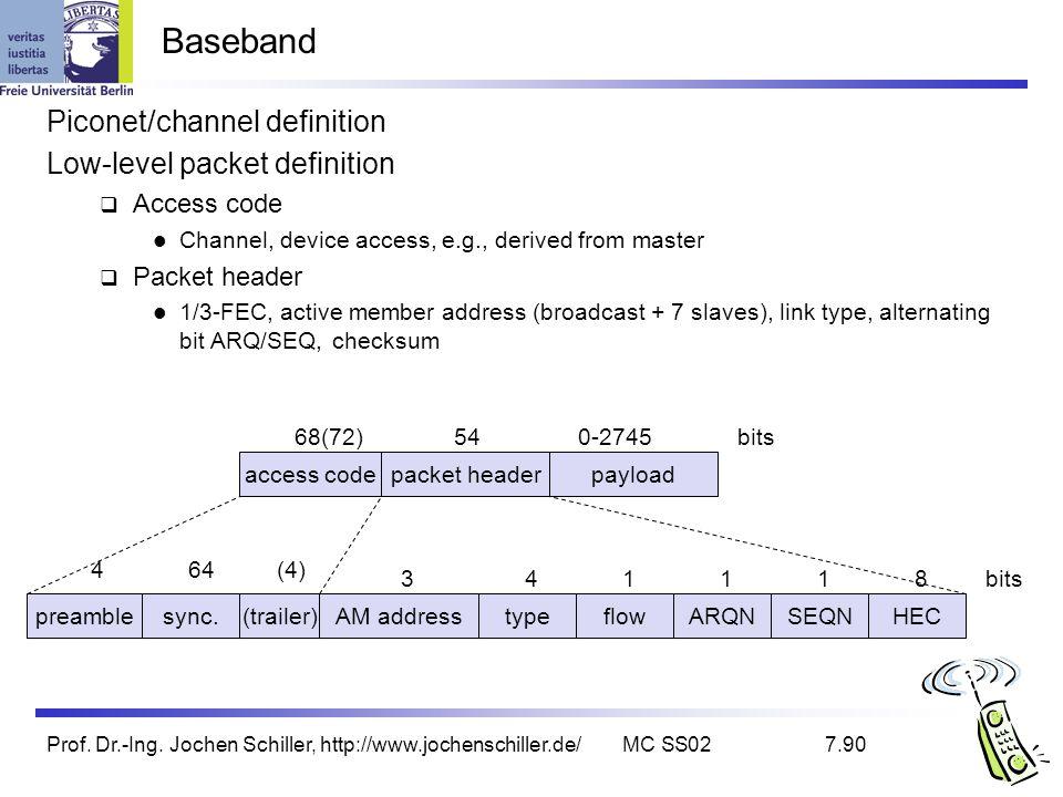 Prof. Dr.-Ing. Jochen Schiller, http://www.jochenschiller.de/MC SS027.90 Baseband Piconet/channel definition Low-level packet definition Access code C