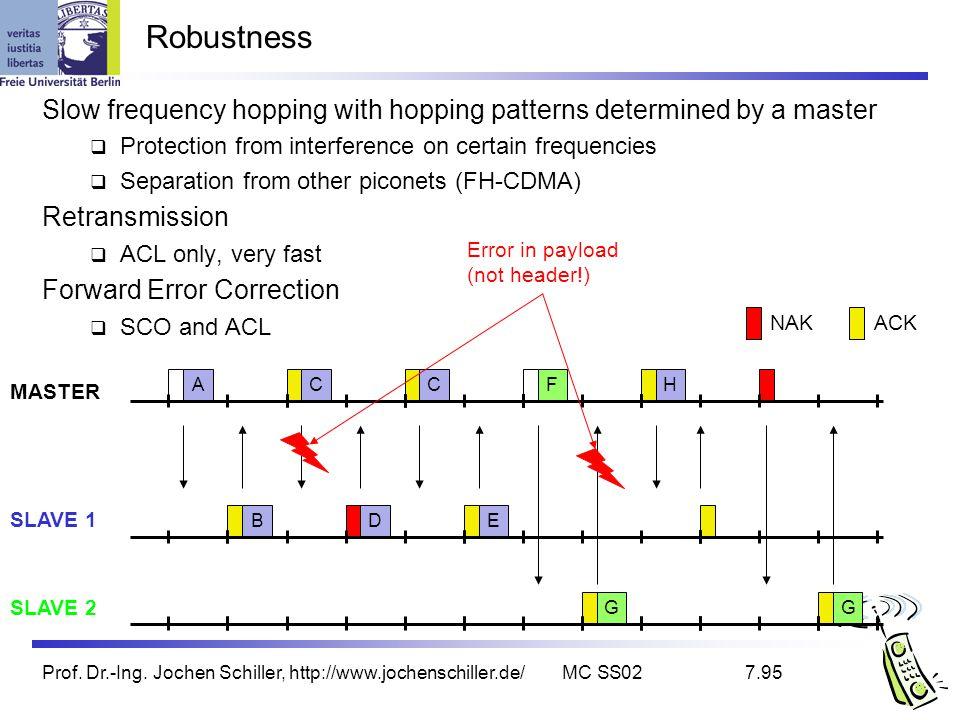 Prof. Dr.-Ing. Jochen Schiller, http://www.jochenschiller.de/MC SS027.95 Robustness Slow frequency hopping with hopping patterns determined by a maste