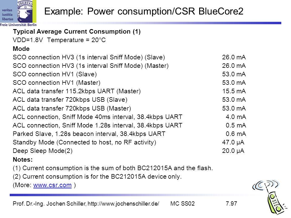 Prof. Dr.-Ing. Jochen Schiller, http://www.jochenschiller.de/MC SS027.97 Example: Power consumption/CSR BlueCore2 Typical Average Current Consumption