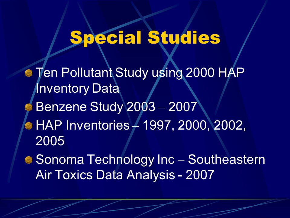 Special Studies Ten Pollutant Study using 2000 HAP Inventory Data Benzene Study 2003 – 2007 HAP Inventories – 1997, 2000, 2002, 2005 Sonoma Technology Inc – Southeastern Air Toxics Data Analysis - 2007