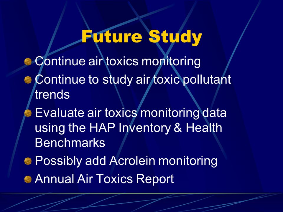Future Study Continue air toxics monitoring Continue to study air toxic pollutant trends Evaluate air toxics monitoring data using the HAP Inventory & Health Benchmarks Possibly add Acrolein monitoring Annual Air Toxics Report