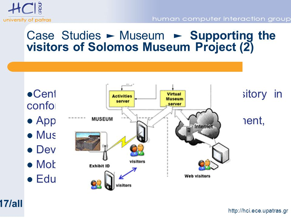 Central database with the digital repository in conformity with CIDOC, Application for digital repository management, Museum web site, Device management application, Mobile guide application, Educational applications http://hci.ece.upatras.gr 17/all Case Studies Museum Supporting the visitors of Solomos Museum Project (2)